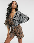 Unique21 Mixed Print Beach Playsuit-Multi