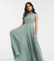 ASOS DESIGN Petite maxi dress with 3D floral embellished neckline-Green