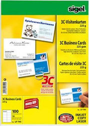 Bussiness Cards Sigel 3C Bristol Λευκό 225gr 10 φύλλων - LP795 (Sigel)